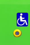 Sign and button on bus for handicapped people Royalty Free Stock Photos