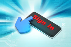 Sign in button with mouse cursor Stock Photos