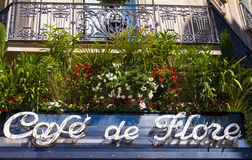 The sign of cafe de Flore, Paris, France. Paris, France-May 05, 2016: The sign of famous cafe de Flore located at the corner of boulevard Saint Germain and rue stock photography