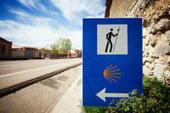Sign of the Camino de Santiago. Pilgrimage route to the Cathedral of Santiago de Compostela, Spain royalty free stock image