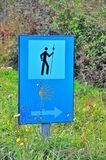 Sign of the Camino de Santiago. Pilgrimage route to the Cathedral of Santiago de Compostela, Spain Stock Images