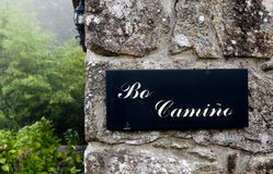 Sign on the Camino de Santiago, Spain Stock Photo