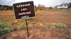 Sign for camping site. Sign indicating caravan and camping area in Australia. This is a public place royalty free stock image