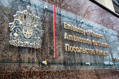 A sign at the Canadian Embassy in Kyiv, Ukraine. Stock Photos