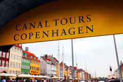 Sign Canal tours in Copenhagen. Stock Photos
