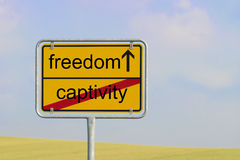 Sign captivity freedom Royalty Free Stock Photo