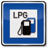 Sign of a car gas station. Traffic sign car gas station royalty free illustration