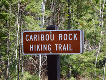 Sign for Caribou Rock Hiking Trail Royalty Free Stock Photo