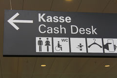 Sign for the cash desk Stock Photo