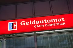 Sign for Cash Dispenser. In the Munich Airport, Bavaria, Germany, Europe Royalty Free Stock Photo
