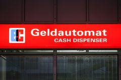 Sign for Cash Dispenser. In the Munich Airport, Bavaria, Germany, Europe Royalty Free Stock Image