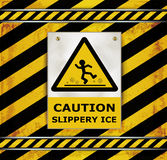 Sign caution blackboard caution slippery ice Royalty Free Stock Image