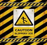 Sign caution blackboard caution slippery ice Royalty Free Stock Image