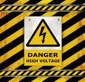 Sign caution blackboard danger high voltage Royalty Free Stock Images