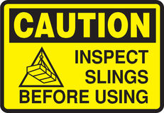 SIGN CAUTION INSPECT SLINGS BEFORE USING Stock Images