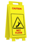 Sign caution wet floor. On a white background Stock Photography