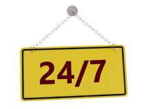 24/7 sign. With chain isolated on white background ,3d rendered Royalty Free Stock Photos
