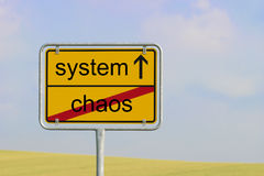 Sign chaos system. Yellow town sign with text chaos system Stock Image