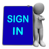 Sign In Character Laptop Shows Website Login Or Signing Royalty Free Stock Images