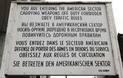 Sign at Checkpoint Charlie. Sign at the border crossing (Checkpoint Charlie) in Berlin, Germany royalty free stock images