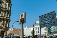 Sign at Checkpoint Charlie Stock Photo