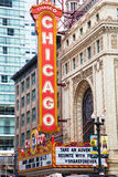 Sign of Chicago Theater. Chicago, Illinois, USA - June 22, 2016: sign of Chicago Theater, an icon of the town. No people stock image