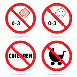Sign for children with baby head set color illustration Stock Images