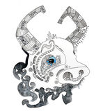 The sign of the china horoscope of the year hand drawing outline ethnic style isolated Royalty Free Stock Photos