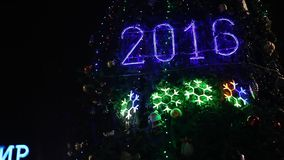 2016 sign with christmas lights stock video footage