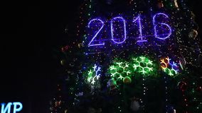 2016 sign with christmas lights stock video
