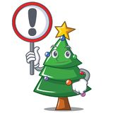 With sign Christmas tree character cartoon Royalty Free Stock Image