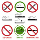 Sign of cigarette and no smoking sign vector Royalty Free Stock Photos
