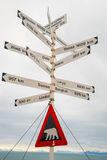 Sign with city distances and polar bear warning, Svalbard, Norwa Royalty Free Stock Images