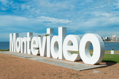 MONTEVIDEO, URUGUAY - FEBRUARY 1, 2017: Restoration of Montevideo sign. Restoration of Montevideo sign in Uruguay Stock Images