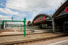 Sign of city Wroclaw over rails of Railway Station Royalty Free Stock Photos