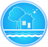 Sign of clean environment. Blue roun sign of clean environment with house and tree Royalty Free Stock Photo