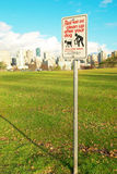 Prohibitive sign in the green park. Vancouver Stock Photo