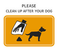 Sign Clean up after your dog. Sign template - Please clean up after your dog Royalty Free Stock Photography