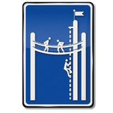 Sign climbing garden. And training in the mountains stock illustration