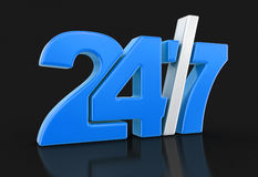 24/7 Sign (clipping path included) Royalty Free Stock Photos