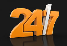 24/7 Sign (clipping path included) Stock Photo