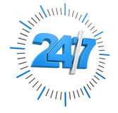 24/7 Sign (clipping path included). 24/7 Sign. Image with clipping path Royalty Free Stock Photo