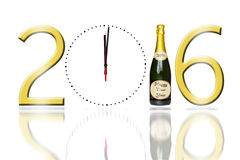 2016 sign with a clock face and champagne bottle. With a reflection on a pure white background Royalty Free Stock Photography