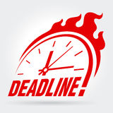 Sign with a clock and an inscription - Deadline!. Vector illustration Royalty Free Stock Images