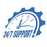 Sign with a clock and an inscription - 24/7 support! Stock Images