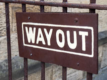 Sign. Close up of a Way Out sign on gate Royalty Free Stock Photos