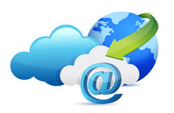 At sign cloud computing moving concept Stock Image