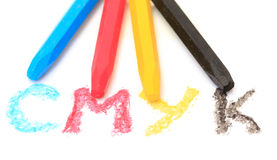 Sign of the CMYK from pastel crayons Royalty Free Stock Photos