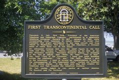 Sign commemorating the first transcontinental phone call in Jekyll Island, GA Royalty Free Stock Image