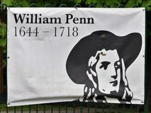 Sign commemorating the life of William Penn, early Quaker, and founder of the English North American colony the Province of Pennsy royalty free stock photos